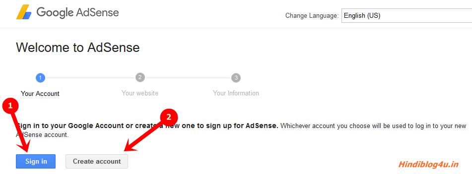 Adsense create an account