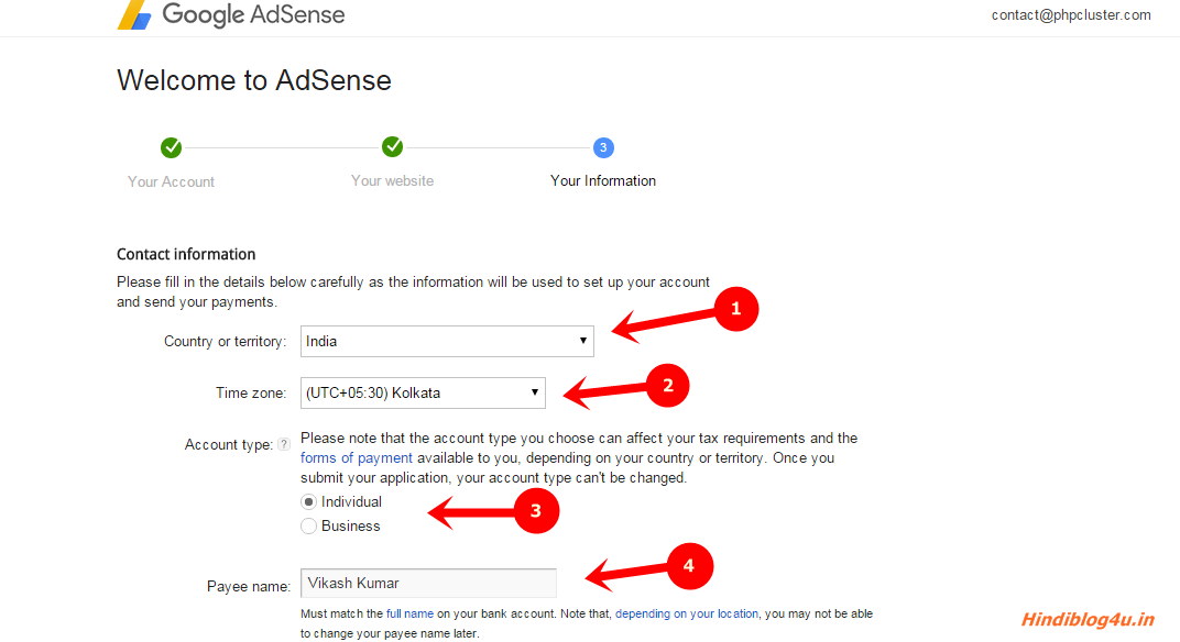 Adsense Your Information
