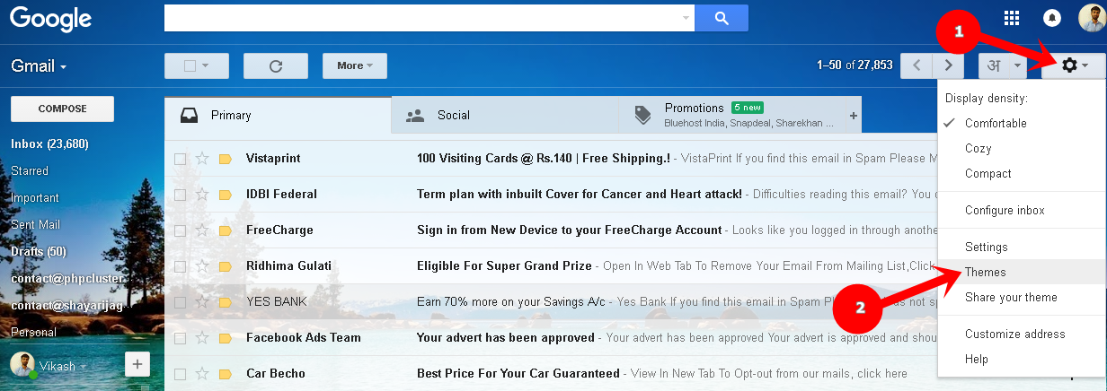 Gmail Theme Change