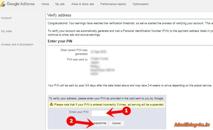 Submit  Adsense PIN
