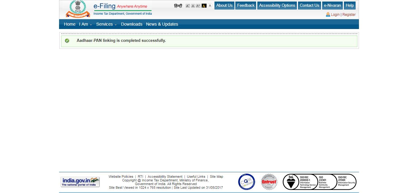 Sucessfully Linked Aadhaar With PAN