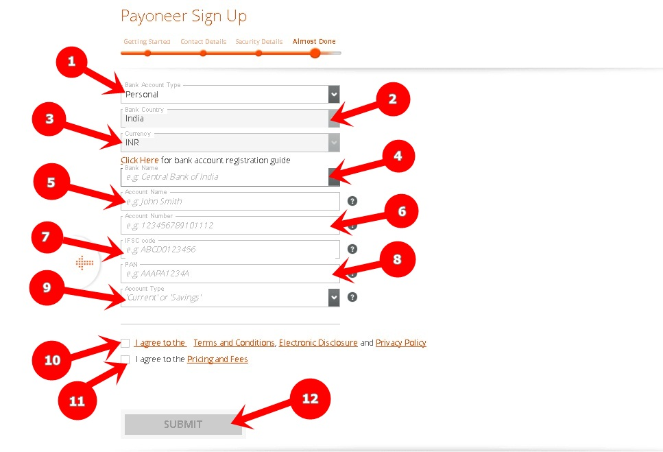 Payoneer signup almost done