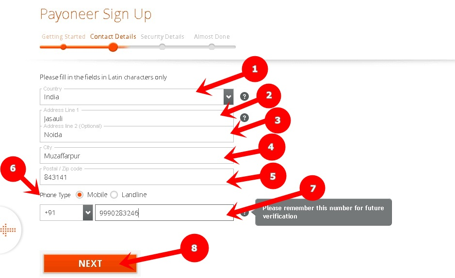 Payoneer signup contact details