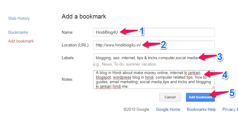 Google add a bookmarks