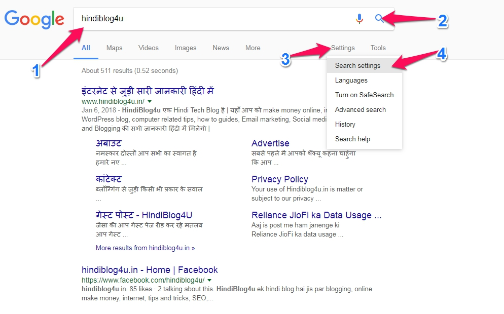 Google search results settings