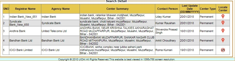 uidai center search result
