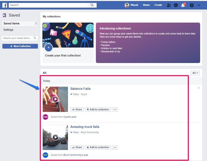 Facebook saved items