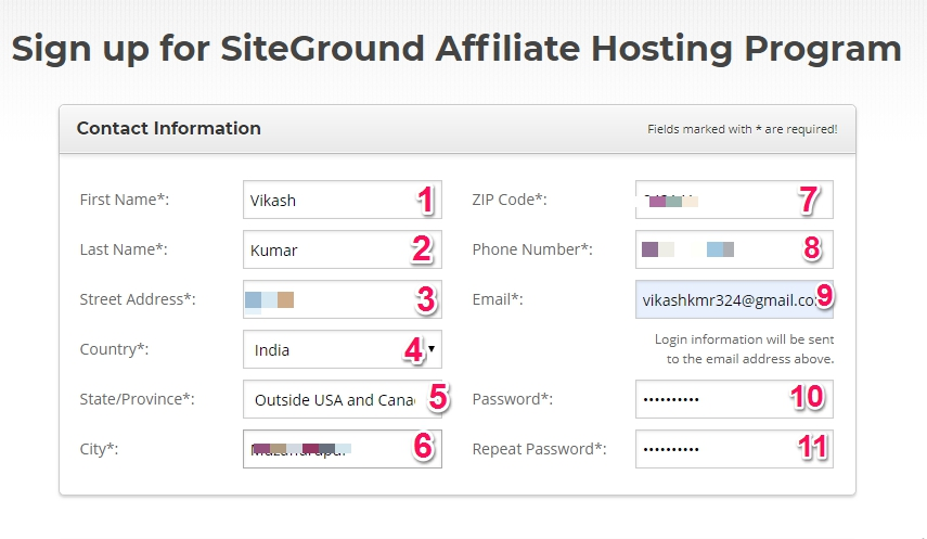 SiteGround affiliate Contact Information