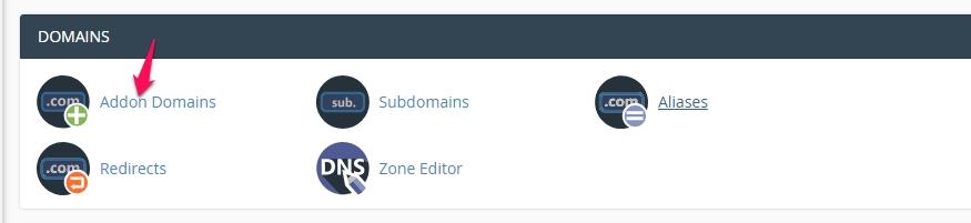 cpanel addon domain button